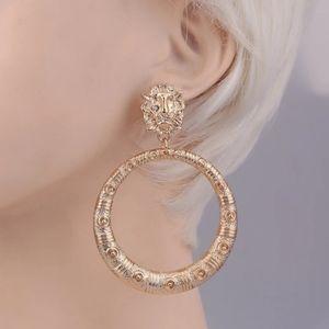 Gold Lion Head Hoop Dangle Earrings